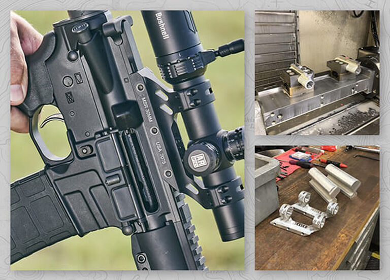 Collage of Weaver Premium MSR Optics Mount during the machining process and mounted on a rifle