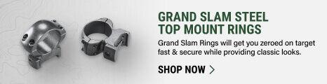 Grand Slam Steel Top Mount Rings on light background